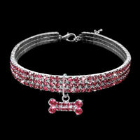 Bling Rhinestone Dog Necklace Collar Diamante Pendant for Pet Puppy Chihuahua N