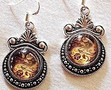925 STERLING SILVER WIRES HANDCRAFTED YIN/YANG Black/gold roses earrings