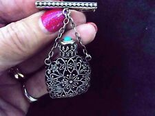 ANTIQUE VICTORIAN FRENCH SILVER FILIGREE & TURQUOISE TOP SCENT FLASK BAR BROOCH