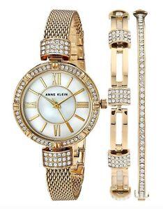 Anne Klein Watch * 2844GBST MOP Crystals Gold Steel Watch & Bracelet Set