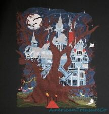 Embroidered Big 9x11 Halloween Haunted House Tree Quilt Block Wall Hanging Decor