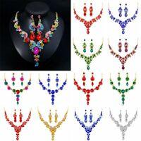 Charm Vogue Prom Wedding Bridal Jewelry Crystal Rhinestone Necklace Earring Set
