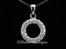 Sparkling Clear Circle CZ 925 Sterling Silver Pendant .925 Fine Jewelry