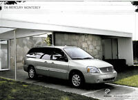 2006 Mercury Monterey Van Original Sales Brochure Folder