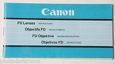 Canon FD Lens Collection Instruction Manual Book - 1981 En Fr De Es USED B39 VG