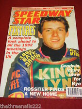 SPEEDWAY STAR - 1992 FIXTURES - MARCH 14 1992