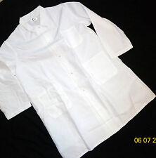 "Unisex Butcher Frock Snap Coat 3 Pockets & Side Vents 44"" Length White Size 3X"