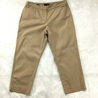 Talbots Womens Pants size 14 new Tan Lightweight Cotton Stretch Capris Cropped