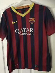 Boys Barcelona Fcb Football Shirt Jersey Qatar Airways Nike Dri Fit 13-15 Years