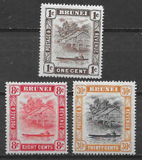BRUNEI , 1947/51 , SET OF 3  STAMPS , PERF , VLH