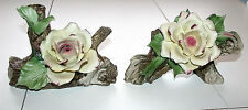 Two Beautiful Vintage Capodimonte Italy Flower Accent Piece Decor Figurines