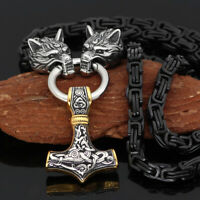 Men's Norse Viking Stainless Steel Wolf Head&Thor Hammer Pendant Necklace Amulet