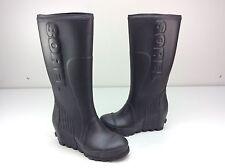 New without box Sorel Joan Rain Wedge Heel Tall Rain Boots Black Sea Salt Size 8