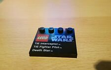 LEGO Star Wars TIE Interceptor, Tie FIGHTER PILOT, MORTE NERA NERO 4X4 Tile