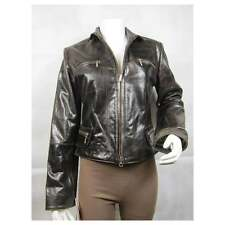 Ladies Brown Glaze Leather Slim Tight Fitted Short Biker Jacket Bike