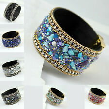 Bangle Bracelet Womens Jewelry, Magnetic clasp Leather Crystal Rhinestone Stones
