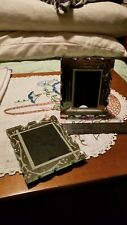 "Set of two silvered/ mirrored 5x4"" vintage frames"