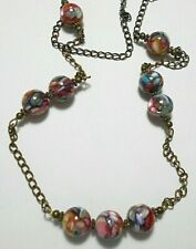 "30"" necklace, Shell-in-resin 14mm beads, bronze chain"