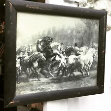 Very Old Antique Wild Horses B & W Framed Glass Litho Russian?