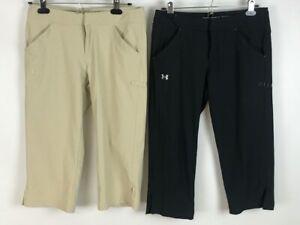 Under Armour Womens Capri Activewear Pants Lot Of 2  Beige Black Stretch 4