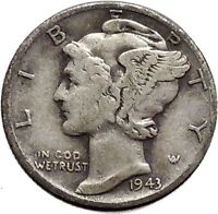 Mercury Winged Liberty Head   1943 Dime United States Silver Coin Fasces i48126