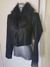 BNWOT River Island Black Faux Fur Leather Look Cropped Blazer Jacket UK 10