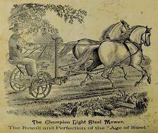 The Champion Light Steel Mower Farm Man Two Horses Cutting Grass Boy Hay-Fork *E