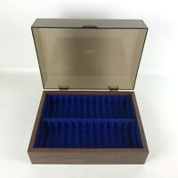Vintage Audio Cassette Closed Storage Box Wood Grain with Removable Lid Holds 26