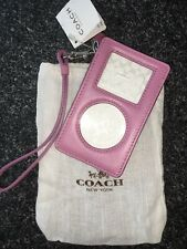 New With Tags Coach Apple Ipod Nano Holder Case Wristlet Pink/Purple Leather $78