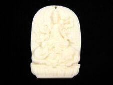 Solido Osso Dettagliato a Mano Ciondolo Kwan-Yin Buddha Ride Elefante #12041805