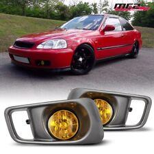 For 1999-2000 Honda Civic OE Factory Fit Fog Light Bumper Wiring Kit Yellow Lens