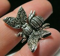 Sterling Silver Articulated BEE Insect Moving Necklace PENDANT Vintage Style