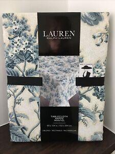 Ralph Lauren Tablecloth  RECTANGLE OBLONG 60 x 104 cm Seats 8-10 Blue floral
