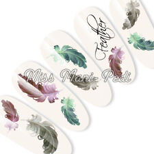 Nail Art Nails Water Decals Transfers Stickers Feathers Feather Transparent T155