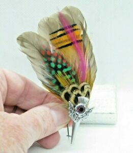 Vintage Scottish Silver Tone Thistle & Feather Pin Brooch