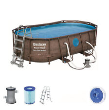 Bestway Power Steel Swim Vista Series Frame Pool-Set Oval Rattan 427x250x100 cm