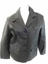 TOGETHER WOMENS BLACK LEATHER JACKET SIZE 12