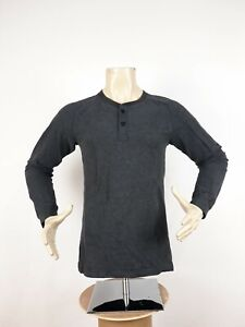 Lululemon All Town Henley Heathered Black Men's Size S French Terry Long Sleeve