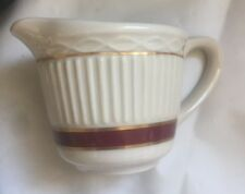 Vintage Restaurant Ware Rego Coffee Creamer Maroon and Gold Band Pitcher E906-38