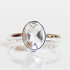100% 925 Solid Sterling Silver Faceted Clear Quartz Stone Ring - Size 9
