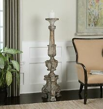 "STATELY 57"" TALL FLOOR PILLAR CANDLEHOLDER CANDLE STICK RUSTIC AGED WOOD FINISH"