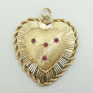 14K Y Gold Ruby Zodiac Cancer Constellation Heart Locket Pendant 17.2g D7096