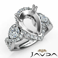 Pear Diamond Three 3 Stone Cross Shank Pave Semi Mount Engagement Ring 1.4Ct
