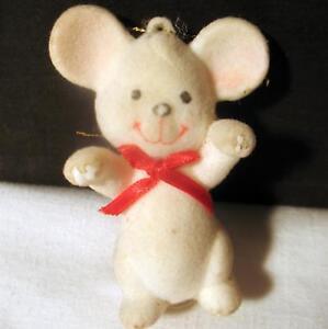 Christmas Ornament Mouse Figurine Vintage Used Plush Over Hard Plastic Figure