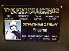 Star Wars the Force Phasma fake Id i.d card Drivers License