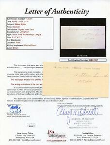 Hilton Smith Signed JSA LOA Index Card Auto Autographed Autograph COA KC Monarch