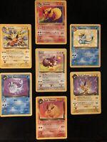Pokemon Lot Of 7 Eeveelution Flareon Jolteon Vaporeon Rare Jungle Team Rocket