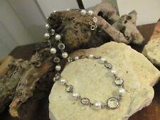 Vintage Dark Silver tone Bezel Set  Austrian Crystal Faux Pearl Linked  Necklace