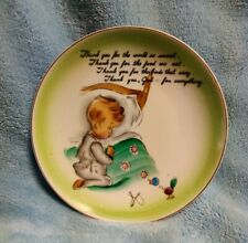 Vintage Childrens Bedtime Prayer Plate / Thank You For The World So Sweet /Japan