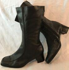JANA Black Mid Calf Leather Lovely Boots Size 6H (221v)